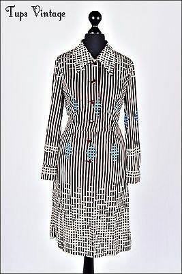 VINTAGE 70s BROWN RETRO STRIPE MOD DRESS SCOOTER 10