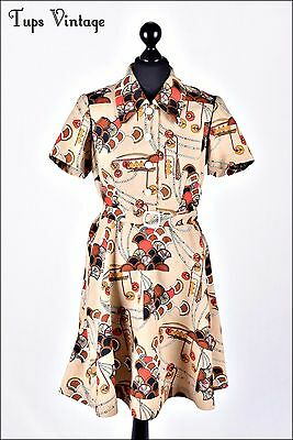 VINTAGE 60s BEIGE RETRO PRINT BELTED MINI MOD DRESS TWIGGY UNIQUE 12