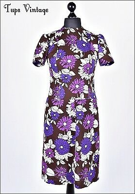 VINTAGE 60s BOLD RETRO FLORAL MINI MOD SHIFT DRESS TWIGGY MADMEN AUTUMNAL 12