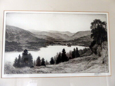 Antique Drypoint Etching Of Ullswater ~ Signed John Fullwood, F.s.a., R.b.a.