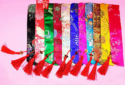 Wholesale 10psc Chinese Silk Folding Hand Fan Pouch Chopstick Cover Case