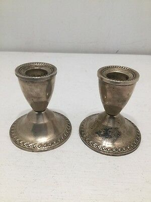 2 Vintage STERLING SILVER Duchin Creation Weighted Candle Holders Candlesticks