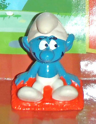 Vintage Rare Smurf Sitting On A Pillow 1975 Smurf Lot