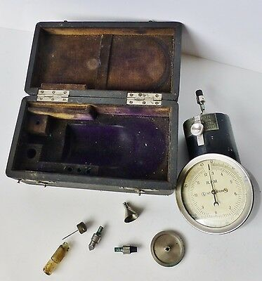 Early 1920's German Hand Tachometer Dial Gauge R.P.M 43684 in Case Antique
