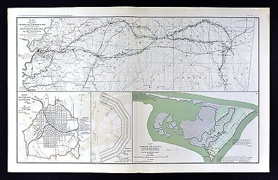 Civil War Map - Vicksburg Jackson Meridian Mississippi - Atlanta  Smith's Island