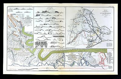 Civil War Map  Charleston Harbor Defenses Forts South Carolina - Army of Potomac