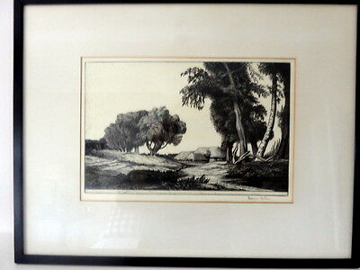 Antique Drypoint Etching Of A Continental Landscape ~ Signed By Etcher