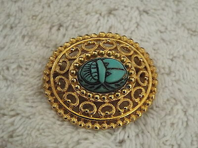 Filigree Goldtone Blue Scarab Cabochon Pin (A76)