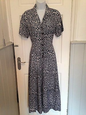 VINTAGE ' MONSOON ' 80s DOES 40s NAVY & WHITE TEA DRESS SIZE 14 IN EX COND
