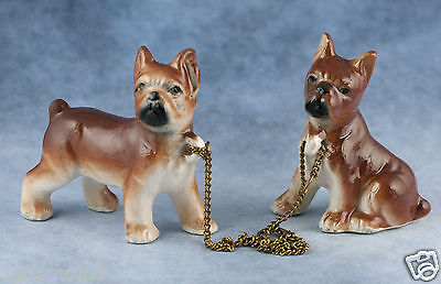 Vintage Miniature Ceramic Pair of Boxer Puppy Chained Dog Figurines Gloss Finish