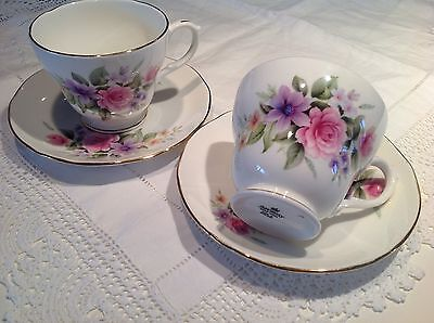 Two Pretty Vintage Duchess Bone China Tea Cups and Saucers