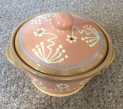 Aysgarth Pottery, North Yorkshire, Hand Decorated Casserole Dish With Lid