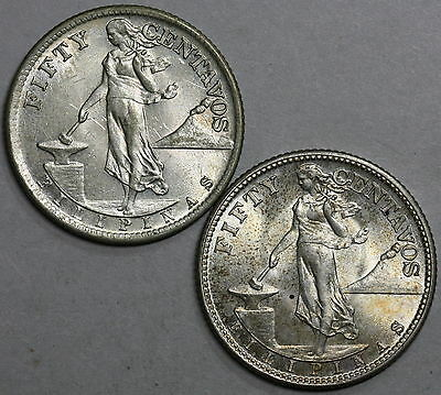 1944-S 1945-S PHILIPPINES Silver 50 centavos TWO WWII Coins (LOT A) 16032607R