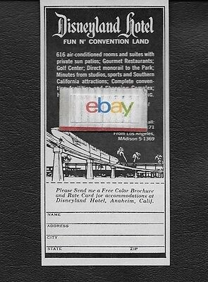 Disneyland Hotel Anaheim 1967 Fun N'convention Land Monorail Magic Kingdom Ad