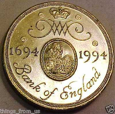 High Grade £2 Bank England Commemorative Coin = 300 Years Anniversary 1694 -1994