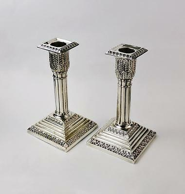 CLASSICAL Pair ANTIQUE SILVER PLATED CANDLESTICKS c1900