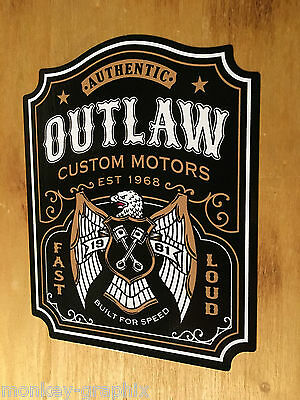 Outlaw Motors Oldschool Sticker Aufkleber V2 Tuning Biker 1% Bobber Chopper USA