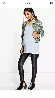 Boohoo Womens Leather Look Maternity Leggings Black Over The Bump