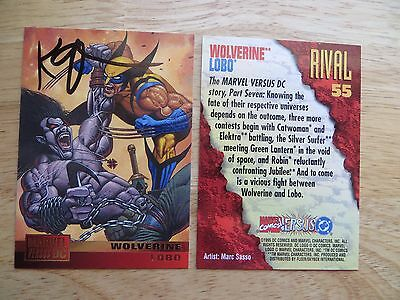 1995 Marvel Vs Dc Wolverine Vs Lobo Card Signed Creator Keith Giffen, With Poa