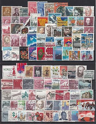 NORWAY - 100 differents used stamps