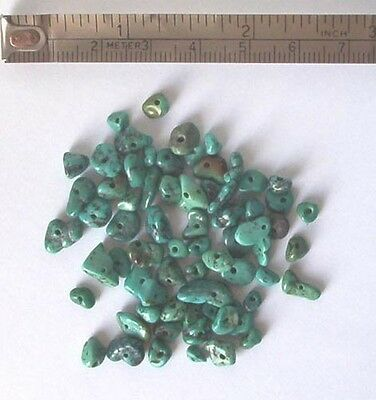 10g of turquoise gem chips - drilled tumblechip beads for jewellery and crafts