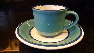 New York  Diner Turquise & Navy Espresso Cup and Saucer