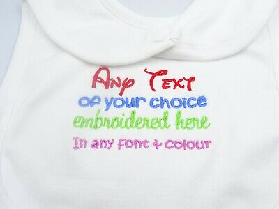 New Personalised Embroidered Cotton Baby Bib CHOOSE SLOGAN TEXT COLOUR