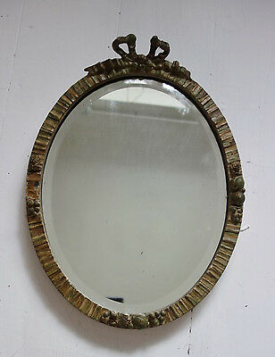 vintage bow topped  embossed 1930s bevelled mirror 15x11 inches