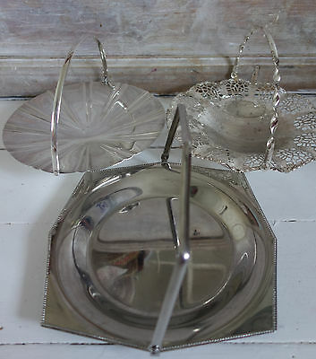 collection vintage silver plated  fold down handle cake/sandwich stands