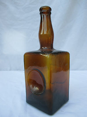 VINTAGE OLD ANTIQUE LARGE AMBER WINE SPIRIT BOTTLE c1920