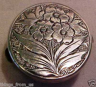 Antique Stud Type Button With Pretty Floral Influenced Victorian Silver Front