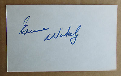 Ernie Wakely Signed Autograph 3X5 Index Card Canadiens Blues Wha Jets Mariners