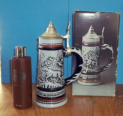 Vtg 1976 Avon Lidded Beer Collector's Stein Wild Country Handcrafted in Brazil