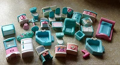 Large collection of vintage  retro plastic dolls house furniture.