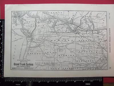 100 Year Old 1916 Grand Trunk Western Section Railroad System Map Gt Rr History