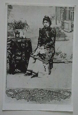 OLD PHOTOGRAPH OF A CHINESE LADY w BOUND FEET - 'FUSHING' PHOTOGRAPHY