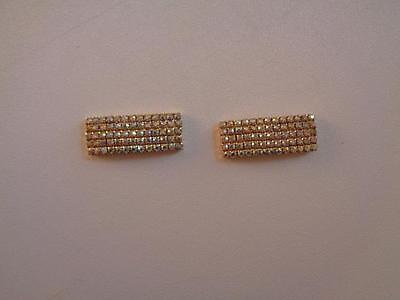 "Vintage Rhinestone & Goldtone Clips Unmarked 3"" x 3/4"""