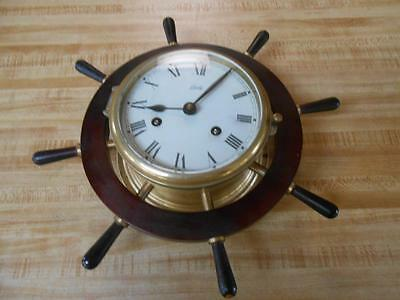 1930's AUG SCHATZ & SOHNE BRASS MARINER SHIP CLOCK  GERMANY