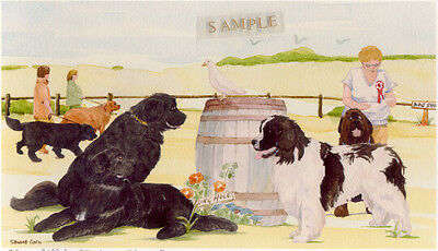 Newf Newfoundland Dog Print: Off To The Dog Show by UK Artist Sandra Coen