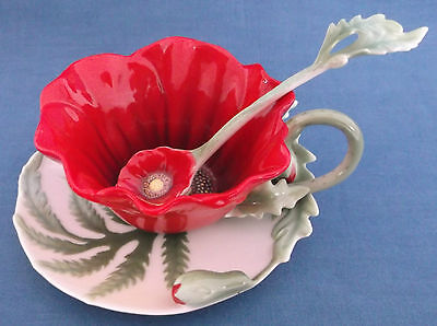 Franz Porcelain Red Poppy Cup Saucer And Spoon Three Pieces