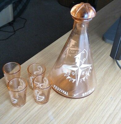 Festival of Britain 1951 glass decanter with 4 glasses
