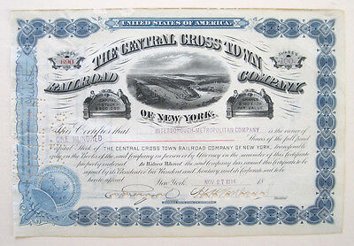 Central Crosstown New York Railroad Stock Certificate 1914