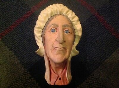 Rare Bossons England Betsey Trotwood Dickensian Head Wall Hanging