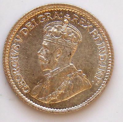 1914 - Canada 5 Cent Old Canadian George V Silver Coin