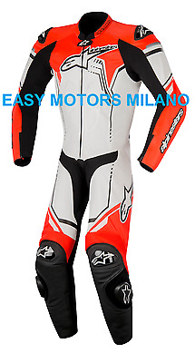 Tuta In Pelle Completa Alpinestars Gp Plus Leather Suit Fluo Rosso Bianco Nero