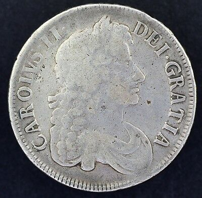 1677 Crown, British Silver Coin From Charles Ii Fine