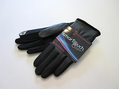 New Retail $54 Isotoner Size XL Black Leather Smartouch Driving Gloves