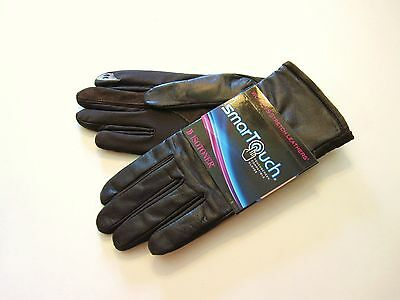 New Retail $54 Isotoner Size XL Brown Leather Smartouch Driving Gloves