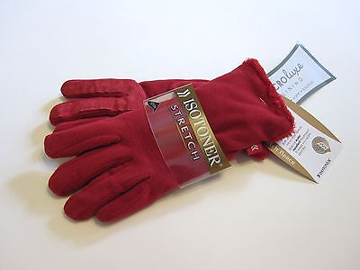 New Retail $35 Isotoner Gloves One Size Red Plush Microluxe Lined