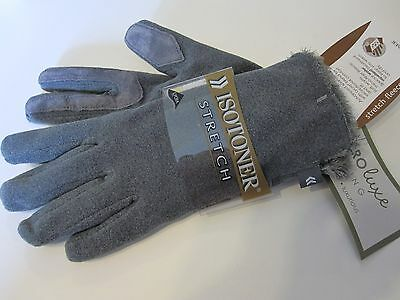 New Retail $35 Isotoner Gloves One Size Gray Plush Microluxe Lined